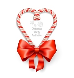 Candy Canes in Heart Shape vector image vector image