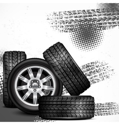 Car wheels and tire tracks vector image vector image