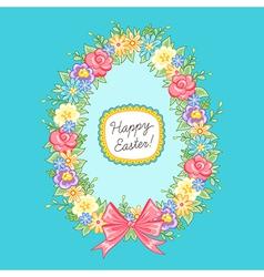 Easter wreath egg blue vector image