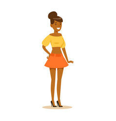 happy african american girl in street fashion vector image