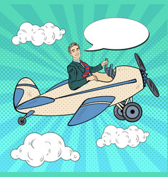 pop art man riding retro airplane vector image