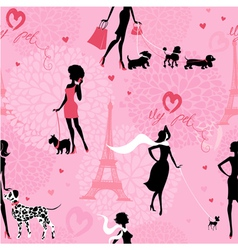 Seamless pattern with black silhouettes of fashion vector image