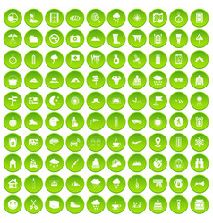 100 mountaineering icons set green circle vector