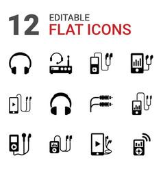 12 headphones icons vector