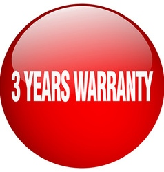 3 years warranty red round gel isolated push vector