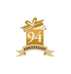 94 years gift box ribbon anniversary vector