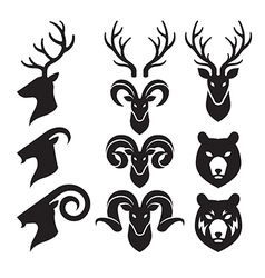 Animal Horn and Head Icons Set Goat Deer and Bear vector