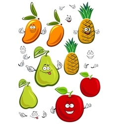 Apple mango pineapple and pear fruits characters vector