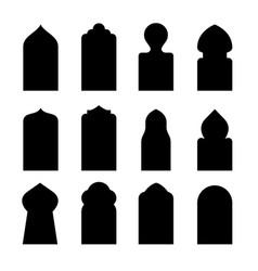 Arab arch door shape set islam window gate vector