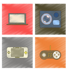 Assembly flat shading style icon computer game vector