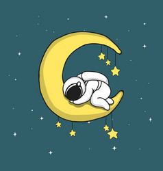 Baby astronaut sleeps on crescent moon vector