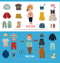 Baby fashion banner set vector