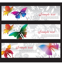 banners with colorful butterflies vector image