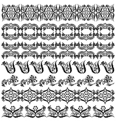 Black oriental ottoman border design two vector