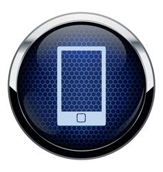 Blue honeycomb phone icon vector image