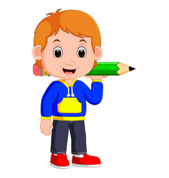 Boy holding big pencil vector