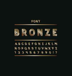 bronze font alphabet vector image