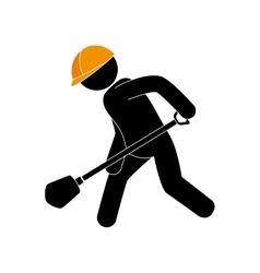 Builder worker construction shovel vector