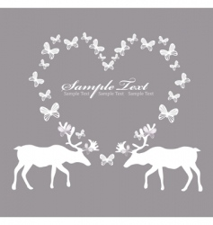 card with reindeer in love vector image