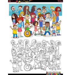 Cartoon kids characters group coloring book page vector