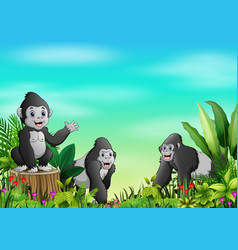cartoon of gorilla group in a beautiful park vector image