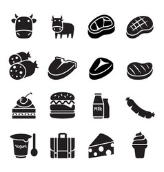 cattle icons vector image