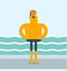 caucasian man on the background of swimming pool vector image