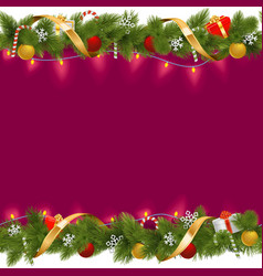 Christmas Border with Garland vector image