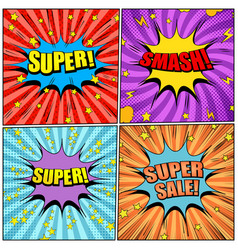Comic pages colorful set vector