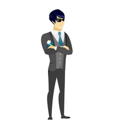 Confident groom in sunglasses vector