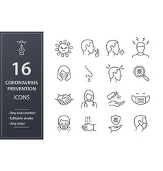 coronavirus line icons set black vector image