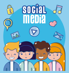 Couple and social media vector