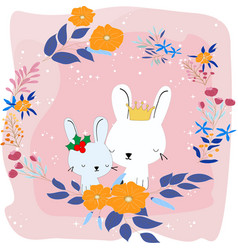 cute rabbit bunny in the flower frame vector image