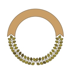 Decorative circular frame with green leaves vector