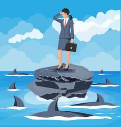 desperate business woman against shark vector image