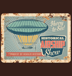 dirigible airship rusty metal plate zeppelin vector image