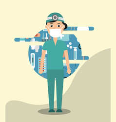 Doctor in surgeon uniform medical hospital work vector