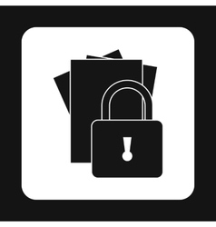 Document protection icon simple style vector
