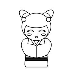 doll kokeshi decoration outline vector image