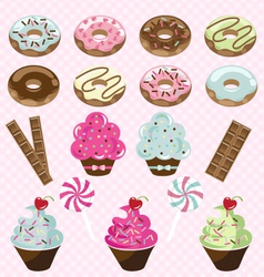 Donuts cupcakes and candy vector