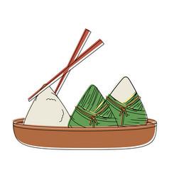 dragon festival rice on dish vector image