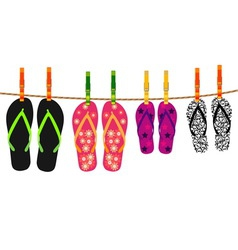 Family flip flops with rope and clothespins vector