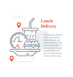 Fast food delivery to home eat at home vector