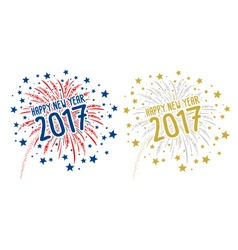 Firework with Happy new year 2017 on white backgro vector