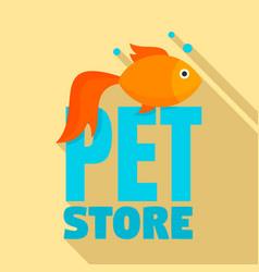Fish pet store logo flat style vector