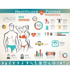 fitness and wellness infographcs active people vector image