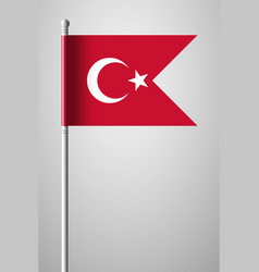 Flag of turkey national flag on flagpole vector