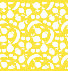 fruit shapes seamless pattern yellow vector image
