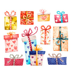Gift boxes set presents isolated on white vector
