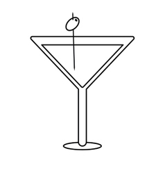 glass cocktail martini with olive outline vector image